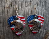 Bald Eagle Head Charm Guitar Pick Earrings - Pick Your Color