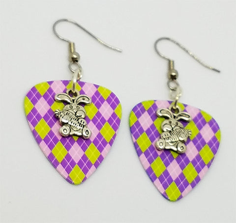 Easter Bunny with a Carrot Charm Guitar Pick Earrings - Pick Your Color
