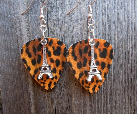 Eiffel Tower 3D Charm Guitar Pick Earrings - Pick Your Color
