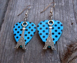 Eiffel Tower Charm Guitar Pick Earrings - Pick Your Color