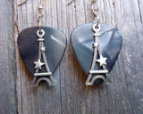 Eiffel Tower with a Star Guitar Pick Earrings - Pick Your Color