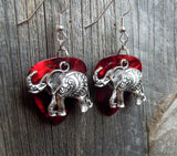 Elephant Charm Guitar Pick Earrings - Pick Your Color