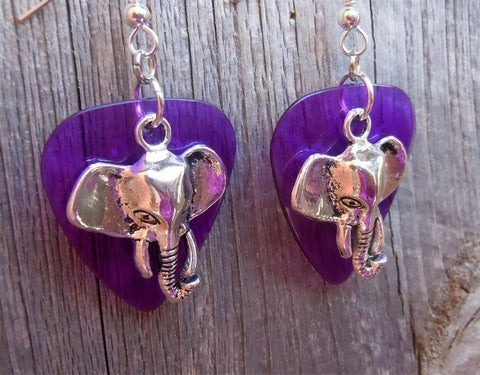 Elephant Head Charm Guitar Pick Earrings - Pick Your Color