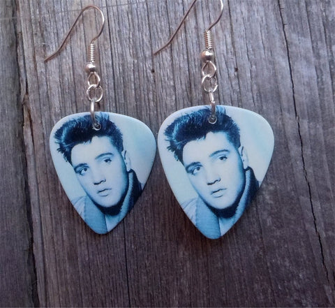 Young Black and White Elvis Close Up Guitar Pick Earrings