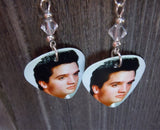 Elvis Guitar Pick Earrings with Clear Swarovski Crystals