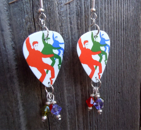 Elvis in Three Colors Guitar Pick Earrings with Swarovski Crystal Dangles