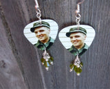 Soldier Elvis Guitar Pick Earrings with Green Swarovski Crystal Dangles