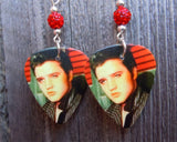 Elvis Guitar Pick Earrings with Red Pave Beads