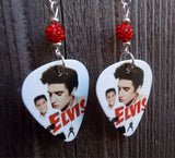 Elvis The King Guitar Pick Earrings with Red Pave Beads