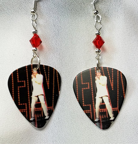 Elvis in Front of Red Sign Guitar Pick Earrings with Red Swarovski Crystals