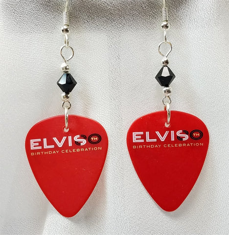 Elvis 80th Birthday Celebration Red Guitar Pick Earrings with Black Swarovski Crystals