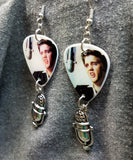 Elvis with a Microphone Guitar Pick Earrings with Silver Microphone Charms