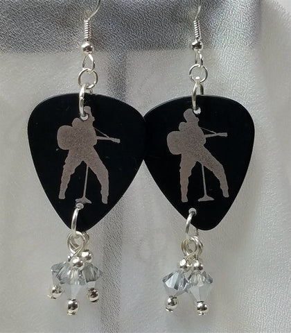 Silver and Black Elvis Guitar Pick Earrings with Silver Swarovski Crystal Dangles
