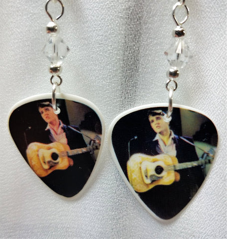 Elvis with an Acoustic Guitar Guitar Pick Earrings with Clear Swarovski Crystals