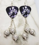 Elvis Guitar Pick Earrings with White Pave Bead Dangles