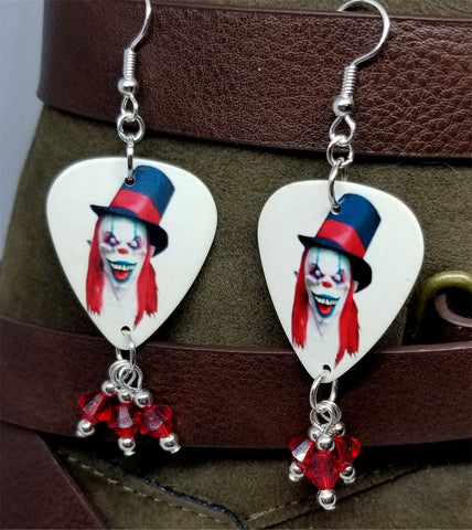 Evil Clown with Top Hat Guitar Picks with Red Swarovski Crystal Dangles