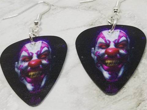 Evil Clown Peering Out From The Dark Guitar Pick Earrings