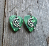 Fairy on the Half Moon Charm Guitar Pick Earrings - Pick Your Color