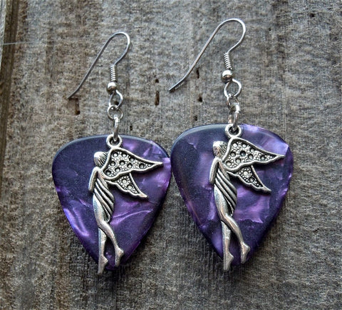 Fairy Standing Sideways Charm Guitar Pick Earrings - Pick Your Color