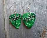 Faith Text Charms Guitar Pick Earrings - Pick Your Color