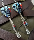 Fall Out Boy Guitar Pick Earrings with Silver Guitar Charm and Swarovski Crystal Dangles
