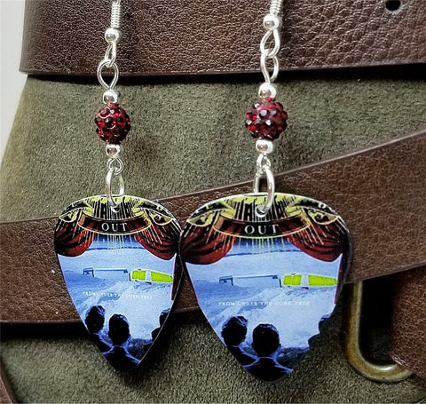 Fall Out Boy From Under the Cork Tree Guitar Pick Earrings with Red Pave Beads