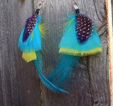 Aqua Blue, Yellow, Pink, and Purple Feather Earrings
