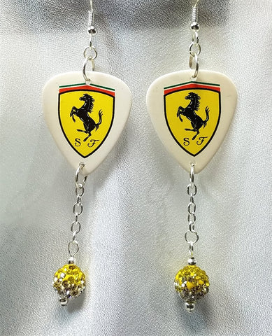 Ferrari Emblem Guitar Pick Earrings with Yellow to White Ombre Pave Bead Dangles