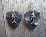 Fish Bone Charm Guitar Pick Earrings - Pick Your Color