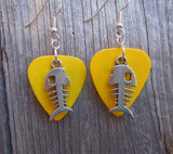 Large Fish Bone Charm Guitar Pick Earrings - Pick Your Color