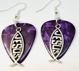 Jesus Christian Fish Charm Guitar Pick Earrings - Pick Your Color