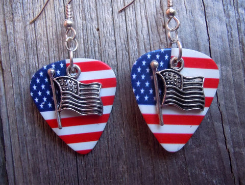 American Flag Charm Guitar Pick Earrings - Pick Your Color