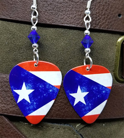 Puerto Rican Flag Guitar Pick Earrings with Blue Swarovski Crystals