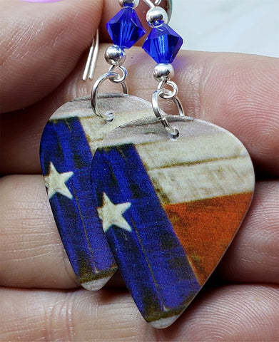 Rustic Texas State Flag Guitar Pick Earrings with Blue Swarovski Crystals
