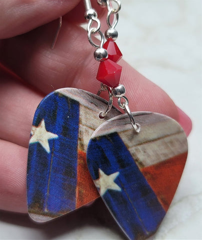 Rustic Texas State Flag Guitar Pick Earrings with Red Swarovski Crystals