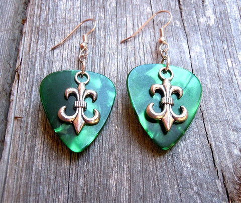 Fleur de Lis Charm Guitar Pick Earrings - Pick Your Color