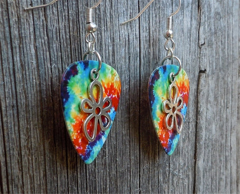 Funky Flower Charm Guitar Pick Earrings - Pick Your Color