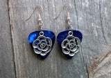 Flower Carnation Charm Guitar Pick Earrings - Pick Your Color