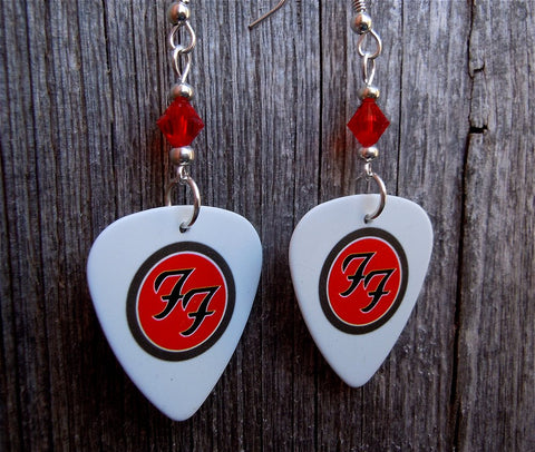 Foo Fighters Guitar Pick Earrings with Red Swarovski Crystals