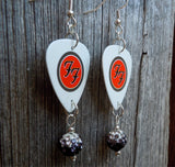 Foo Fighters Guitar Pick Earrings with Black Ombre Pave Beads