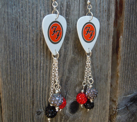 Foo Fighters Guitar Pick Earrings with Pave Bead Dangles