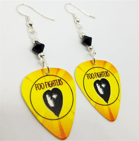 Foo Fighters One By One Guitar Pick Earrings with Black Swarovski Crystals