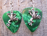 Crawling Frog Charm Guitar Pick Earrings - Pick Your Color
