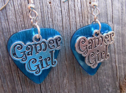 Gamer Girl Charm Guitar Pick Earrings - Pick Your Color