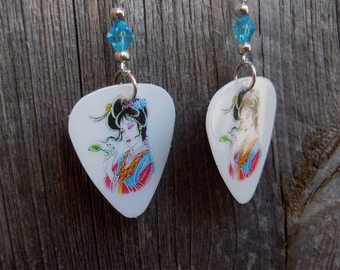 Geisha in Pink and Blue Kimono Guitar Pick Earrings with Aqua Swarovski Crystals