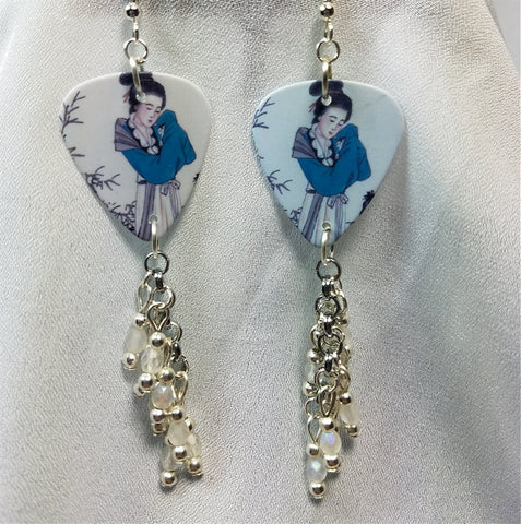 Geisha Guitar Pick Earrings with White Frosted Glass Beads Dangles