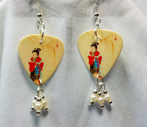Geisha Guitar Pick Earrings with Ivory Glass Pearl Dangles