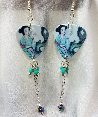 Geisha Woman Guitar Pick Earrings with Glass Bead Dangles