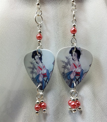 Geisha Guitar Pick Earrings with Pink Glass Pearl Dangles