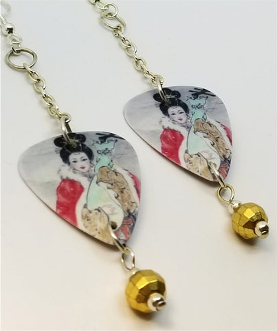 Geisha Woman Playing the Shamisen Dangling Guitar Pick Earrings with Gold Glass Beads